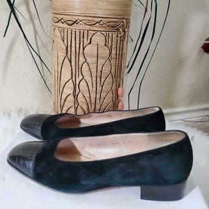Salvatore Ferragamo DF Black Suede Leather Shoes